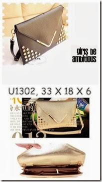 U1302 (175.000)- MATERIAL PU SIZE L33XH18XW6CM WEIGHT 650GR COLOR GOLD,BLACK