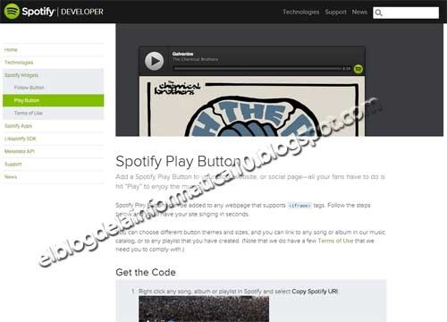 Widget Spotify para blog - Imagen Spotify Play Button