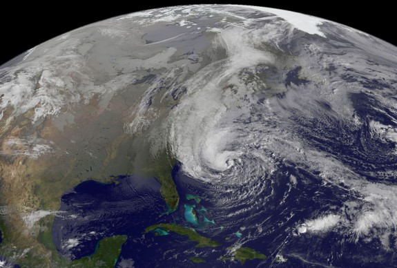 Satellite view of Hurricane Sandy at 9:02 am EST on 28 October 2013. Photo: NASA GOES Project