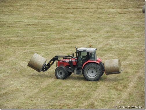 Tractor with bales