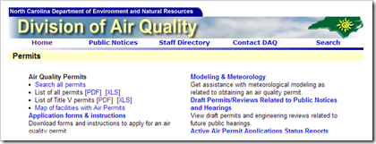North Carolina Department of Environment and Natural Resources Air Quality