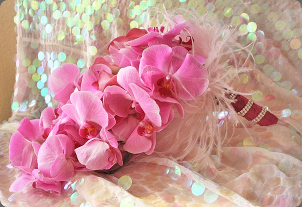 fuchsia-phaleanopsis-orchids-feather-bouquet aileen tran