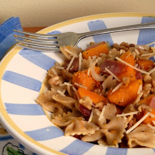 Whole Wheat Pasta with Roasted Butternut Squash, Turkey Bacon, and Walnuts