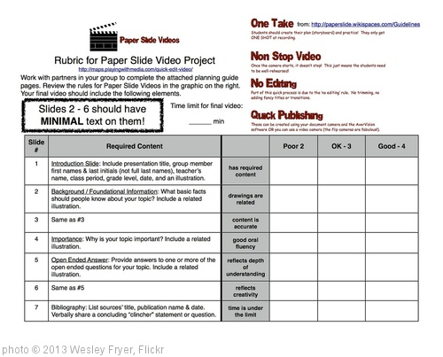 'Paper-Slide Video Rubric and Planning Guide 1 of 3' photo (c) 2013, Wesley Fryer - license: http://creativecommons.org/licenses/by/2.0/