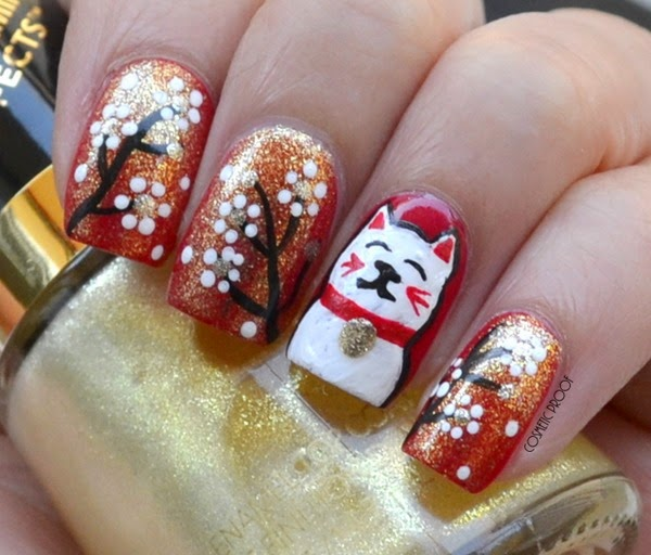 Revlon Transforming Effects in Gold Glaze Chinese New Year Lucky Cat Nail Art Review Swatch