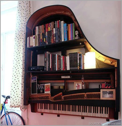 Yes, that's an old piano turned into a book case! CLICK to enlarge image.