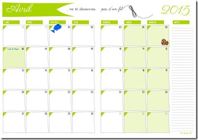 agenda mensuel - 04 avril 2015