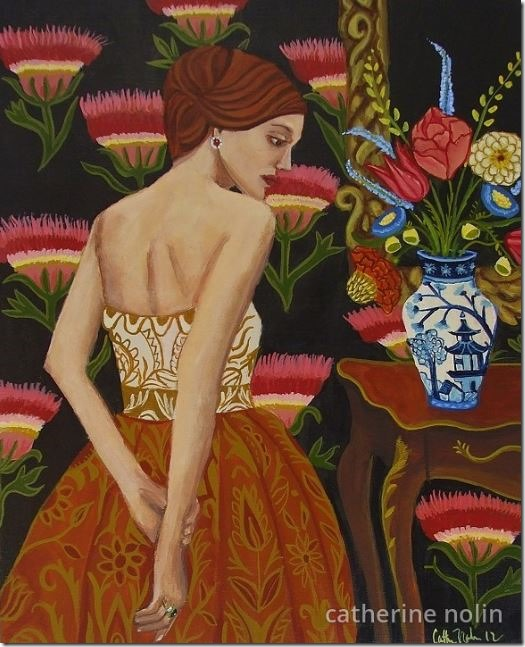 The Girl With the Pagoda Vase 8x10 acrylic on wood by Catherine Nolin