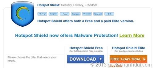 Cách vào facebook bị chặn bằng Hotspot Shield