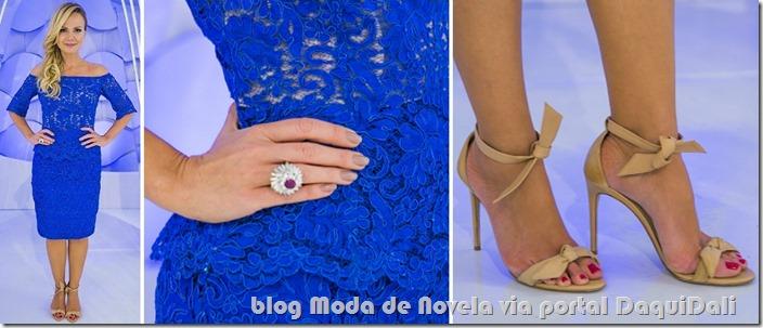 moda do programa da Eliana - look da Eliana com conjunto de top e saia de renda azul dia 31 de agosto