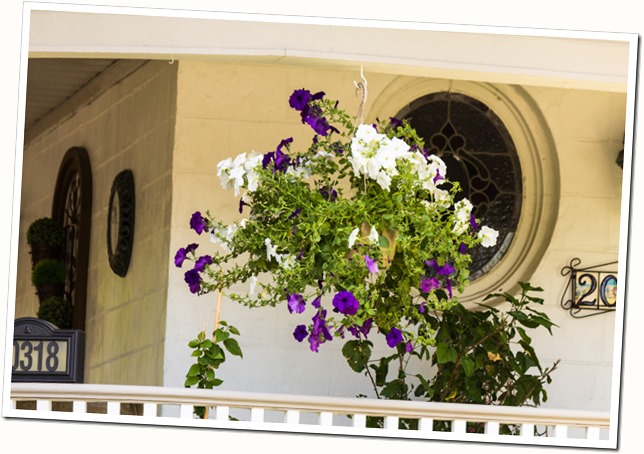 porch with purple and white container
