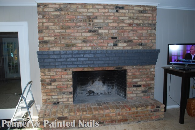 Fireplace Mantel Painted - Primer & Painted Nails