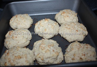 Coconut Topped Biscuit Scones - fresh from oven