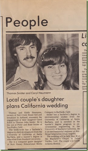 Engagement announcement 12April1983 Ashland Tidings