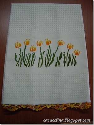 pano louça tulipas