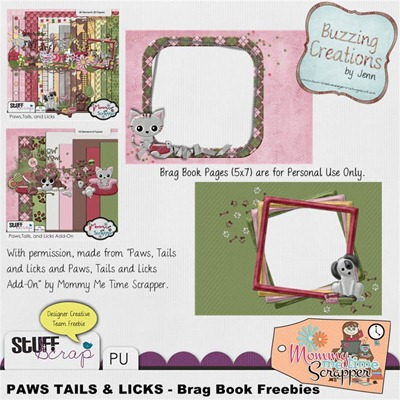 Mommy Me Time Scrapper - Paws, Tails and Licks - Brag Book Pages Preview
