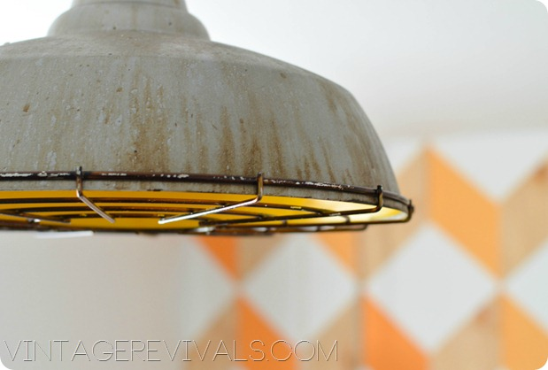 Yellow Industrial Light Fixture vintagerevivals.com 
