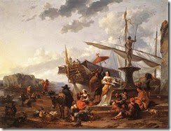 A_Southern_Harbour_Scene_by_Nicolaes_Pieterszoon_Berchem