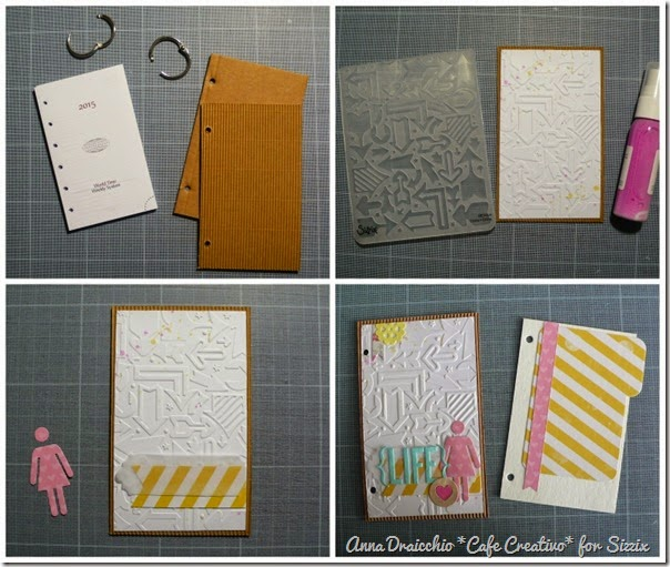 cafe creativo - Anna Drai - sizzix big shot - Mini album - mini day planner - tutorial