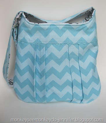 aqua chevron bag #chevronbag #pleatedbag
