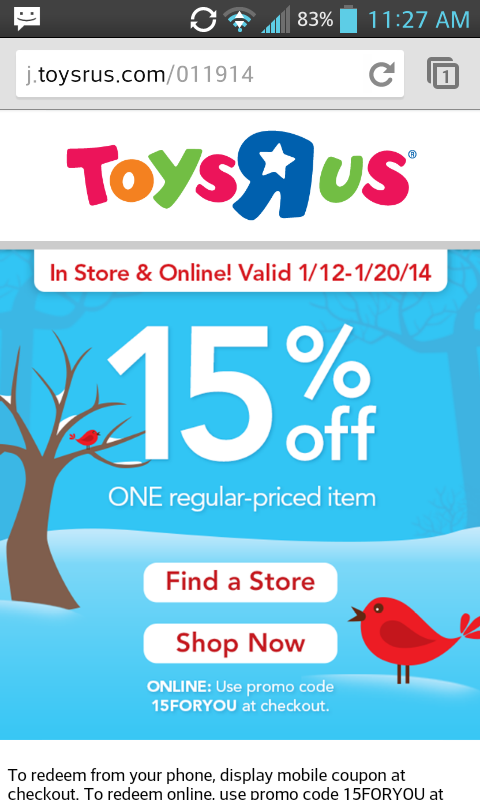 Toys R Us 20 Off : Toys r us off an item or clearance