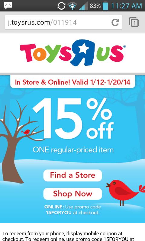 Toysrus coupon code 20