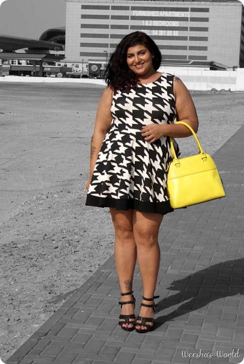 Weesha's World houndstooth dress kardashian kollection blazer kate spade bag spiked shoes