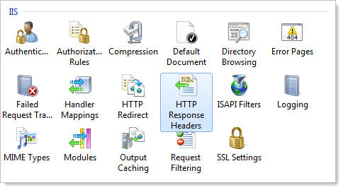 "The ""HTTP Response Headers"" in the IIS configuration"