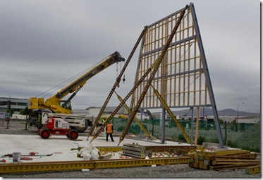 11122012 News Photo: John Kirk-Anderson / The Press / Fairfax NZ<br /><br />The first frame of the cardboard cathedral goes up.