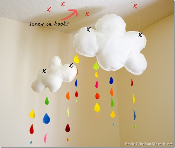 Rainbow Rain Cloud Mobile - hooks to ceiling