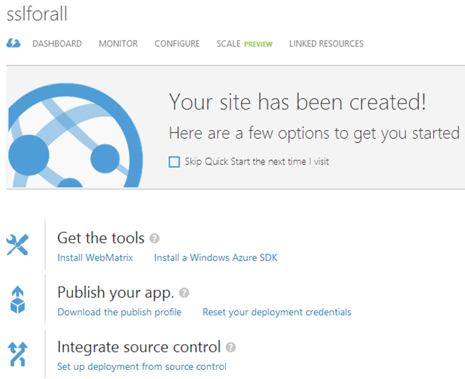 The Azure website overview page