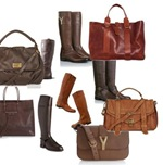 Brown distressed boots and bag