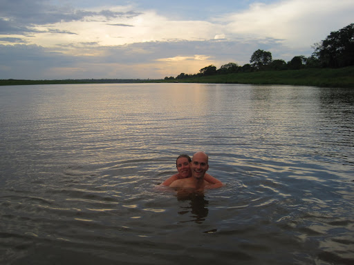 Taking a dip in a channel off the Amazon