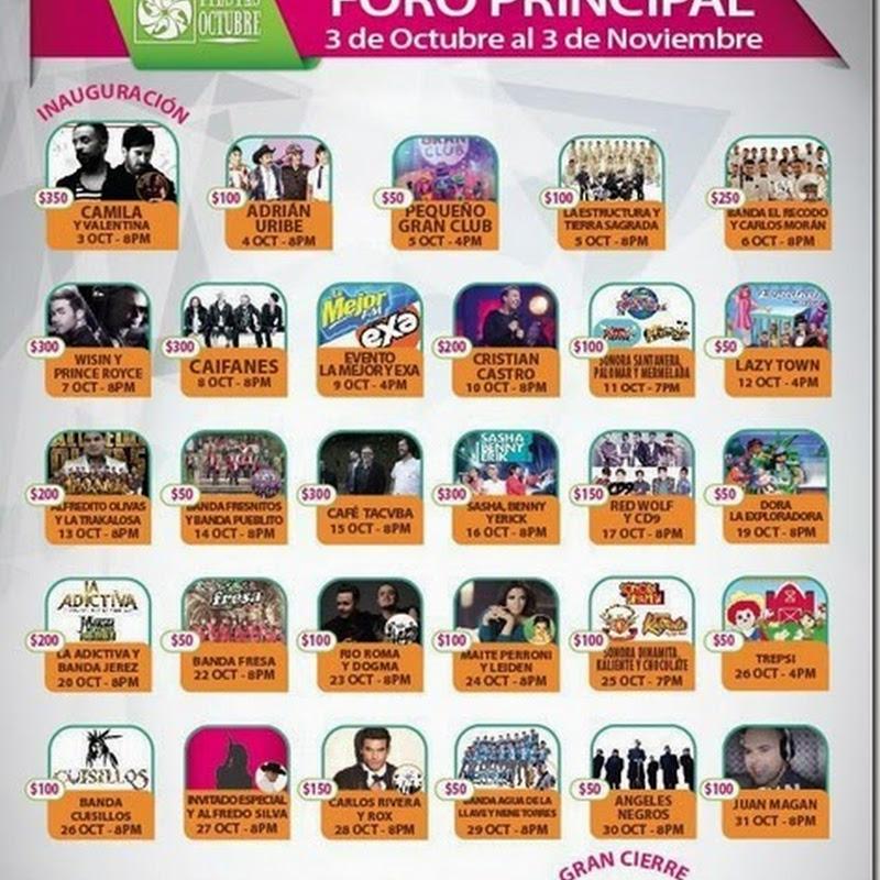 Fiestas de Octubre 2014: Cartelera del Foro Principal