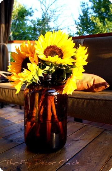 amber jar sunflowers