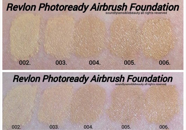 Revlon Photoready Airbrush Effect Foundation Swatches of Shades 002 Vanilla, 003 Shell, 004 Nude, Beige, 005 Natural Beige, 006 Medium Beige,
