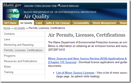 Maine Department of Environmental Protection Air Quality Air Permits