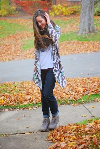 Aztec cardigan, jeans, Toms, fringe scarf
