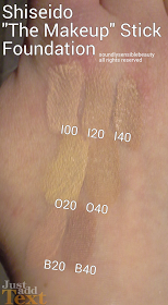 Shiseido Foundation Stick O00, I00, B00, O20, I20, B20, O40, B40, I40, O60, B60, I60, O80, B80, I80 Review & Swatches of Shades I00 Very Light Ivory, I20 Natural Light Ivory, I40 Natural Fair Ivory O20 Natural Light Ochre, O40 Natural Fair Ochre B20 Natural Light Beige, B40 Natural Fair Beige (Shadesnot Pictured are I60, B60, and O60)