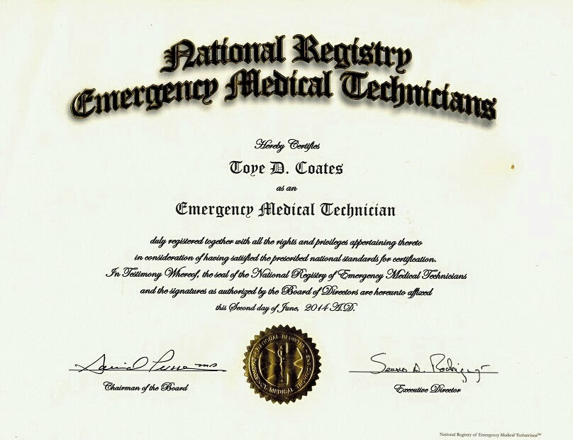 NREMT Certificate | My Journey in EMS