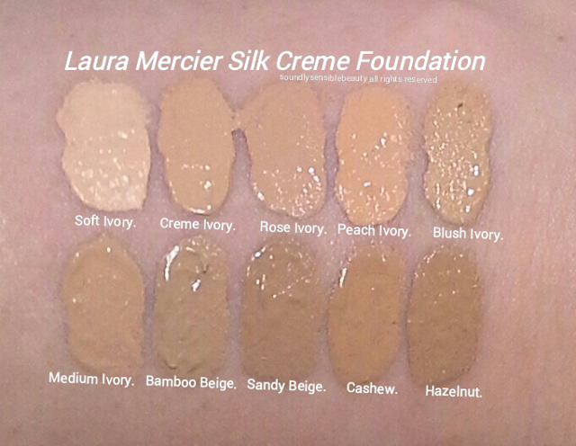 Laura Mercier Silk Creme Foundation, Review & Swatches of Shades Soft Ivory, Cream Ivory, Rose Ivory,  Peach Ivory, Blush Ivory, Medium Ivory, Bamboo Beige,  Sandy Beige, Cashew, Hazelnut,