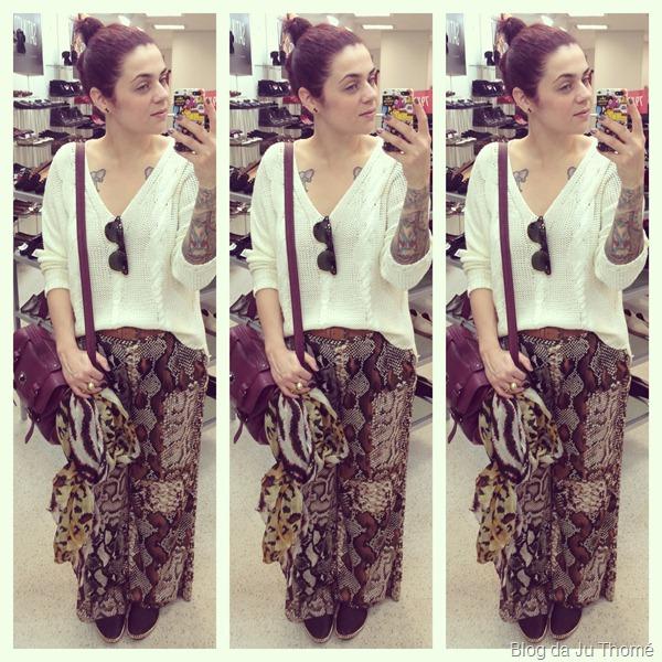 look calça estampada renner, tricot branco, bolsa burgundy e lenço estampa animal print (1)