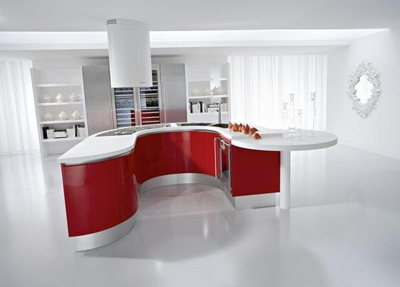 cocina roja y blanco