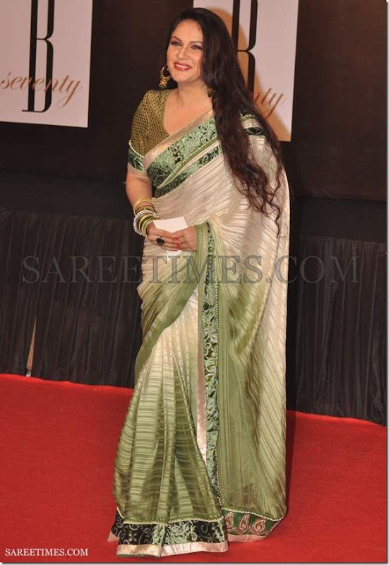 Gracy_Singh_White_Green_Saree