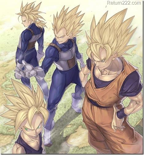 blonde-hair--dragonball--dragonball-z--epic--future-trunks--gloves--green-eyes--katsutake--son-gohan--son-goku--super-saiyan--vegeta