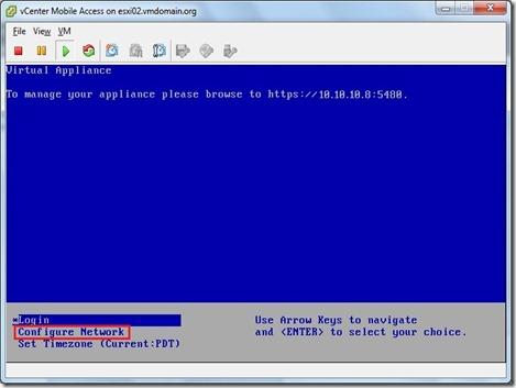 vCMA Configure Network