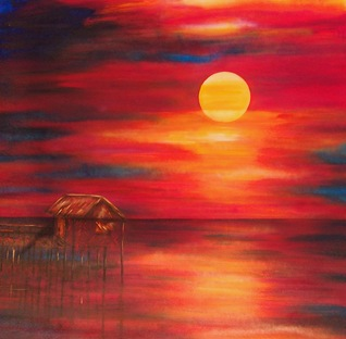 nipa-hut-at-sunset-lyn-deutsch