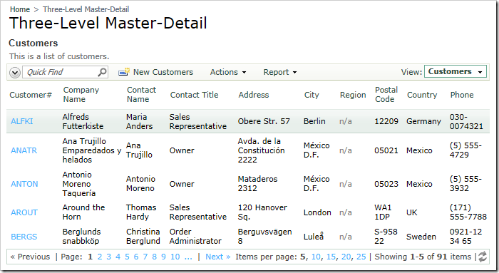 Select a Custom from the list on the Three-Level Master-Detail page.
