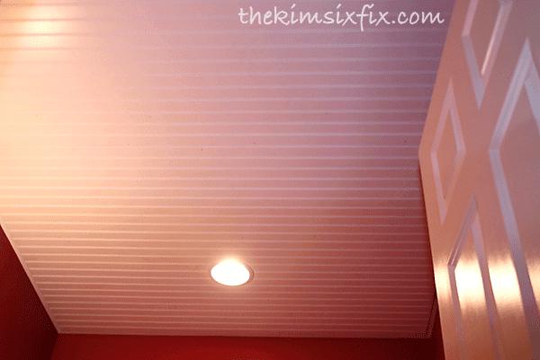 Beadboard sheet on ceiling