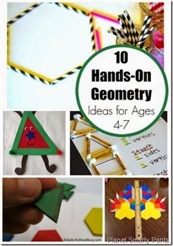 10 Hands on geometry Activities for Kids - So may creative math activities fro kids from Preschool and Kindergarten to 1st grade and 2nd grade.